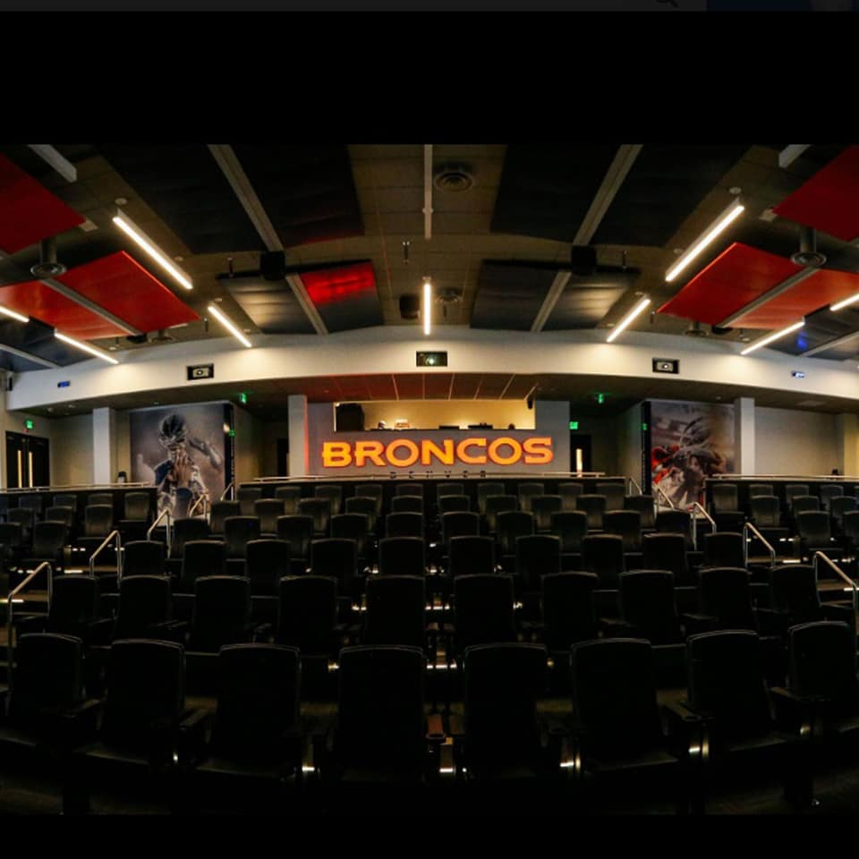 DENVER BRONCOS STUDIO AND TEAM ROOMS, Centennial, Colorado DLAA - D L ADAMS ASSOCIATE Sports Entertainment t leading acoustic consultants and engineering firm specializing in Sports and Entertainment acoustic design, noise control, and vibration control for over 40 years.